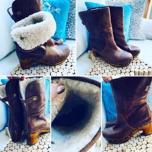 UGG Sheep Skin Lined Heeled Boots Sz 7M GUC Brown